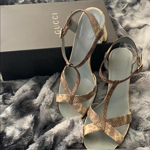 Gucci Shoes - Gucci Snake print heels Tan Karung